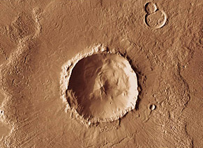 12-mile-wide Bacolor crater, Mars, with lobate splash ejecta