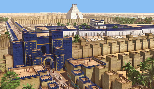 The centre of ancient Babylon, with the Ishtar Gate foreground left and the ziggurat in the distance