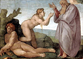 Panel showing the creation of Eve, from Michelangelo