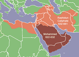 The Muslim empire created by Mohammed and as expanded under the Rashidun Caliphate