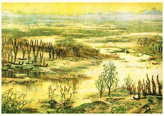 Painting by Zdenek Burian illustrating plant colonies in the Silurian and early Devonian