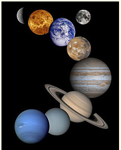 The eight planets of the Solar System, from Mercury top left to Neptune bottom left, plus the Moon top right.