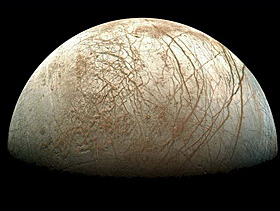 Europa - a moon orbiting Jupiter - is covered in water to a depth of 100 km
