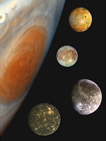 The major moons of Jupiter - from top to bottom, Io, Europa, Ganymede and Callisto