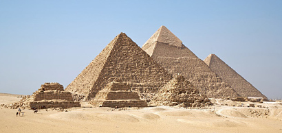 Mid-3rd millennium BC pyramids at Giza, attesting belief in an afterlife