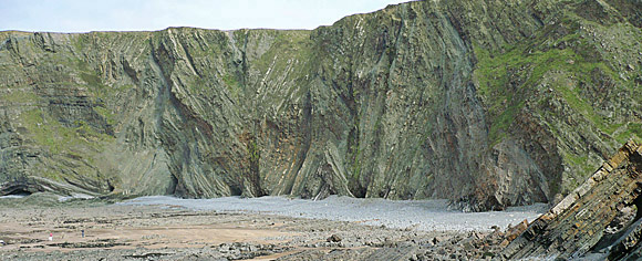 Hartland Quay, Devon, showing folding as landmasses crunched together in the Carboniferous period