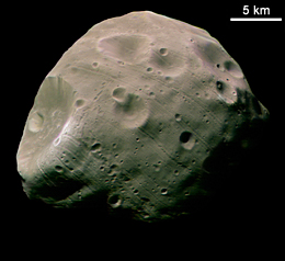 Phobos, one of the two moons of Mars