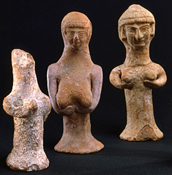 Figurine idols representing the goddess Asherah, common in 9th- to early 6th-century Judah