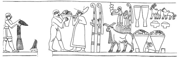 Drawing of Late Uruk vase, top frieze - the priest-king of Uruk pays homage to Inana