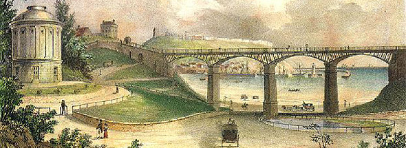 View of the rotunda museum and iron bridge at Scarborough - drawing by W Tindall